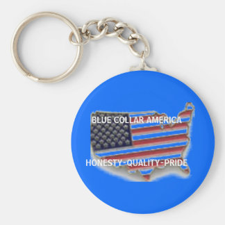 BLUE COLLAR AMERICAHONESTY-QUALITY-PRIDE BASIC ROUND BUTTON KEY RING