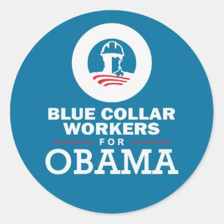 Blue Collar Workers for Obama Round Sticker