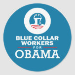 Blue Collar Workers for Obama Round Stickers