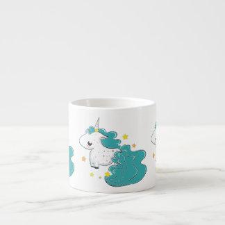 Blue color cartoon unicorns with stars baby mug espresso mug