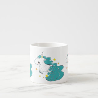 Blue color cartoon unicorns with stars baby mug espresso cup