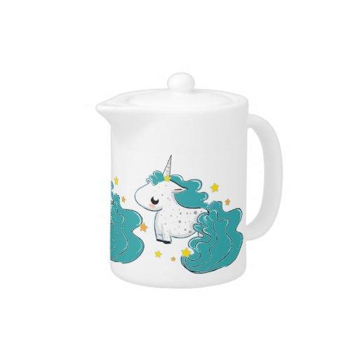 Blue color cartoon unicorns with stars cute teapot
