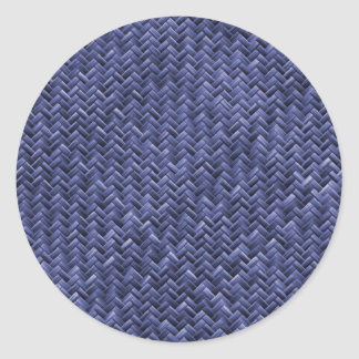 Blue Colored Basket weave Pattern Round Stickers