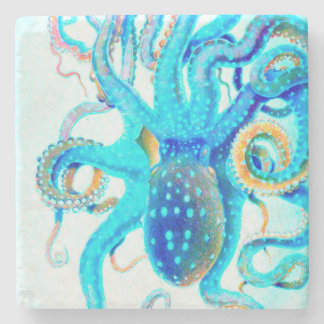 Blue colorful Octopus Stone Coaster