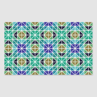 Blue colorful tiled mosaic rectangular sticker