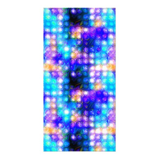 Blue Colorful Whimsical Abstract Custom Photo Card