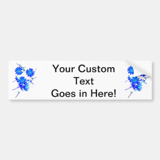 Blue colorized wild flowers scattered design bumper sticker