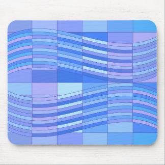 Blue Colors Wavy Rectangles Mouse Pads