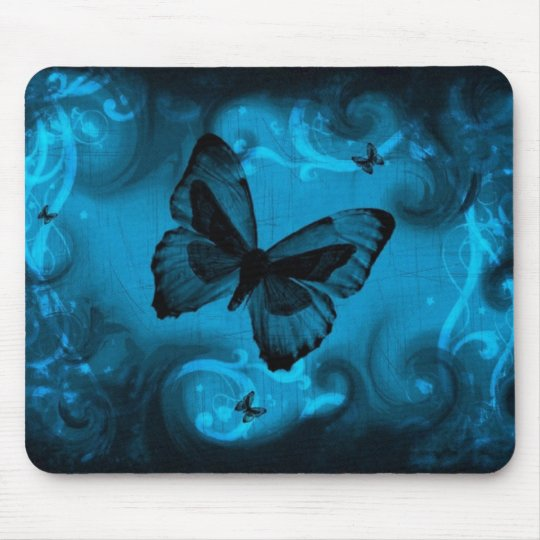 blue colourful butterfly vector art mouse mat