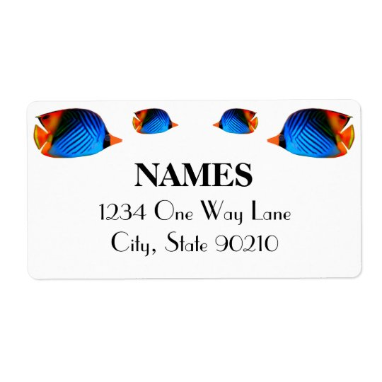 Blue Colourful Fish Shipping Label