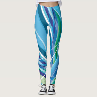 Blue Colourful Lines Background Leggings