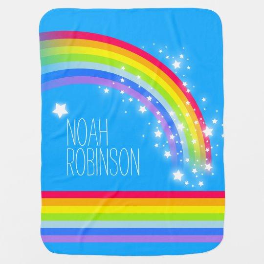 Blue colourful name rainbow stars baby blanket
