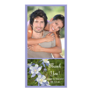 Blue Columbine Flowers Wedding Thank You Photo Card