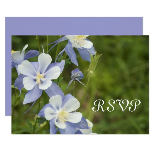Blue Columbine Wedding RSVP Response Card