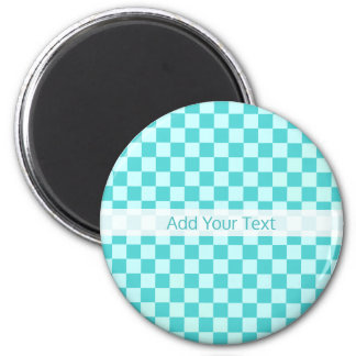 Blue Combination Classic Checkerboard by STaylor 6 Cm Round Magnet