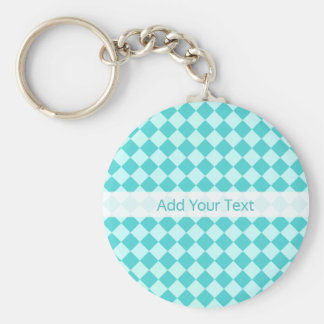Blue Combination Diamond Pattern by Shirley Taylor Basic Round Button Key Ring