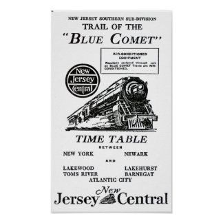 Blue Comet Train - Luxury coach Trains Poster