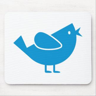 Blue comic bird mouse pad