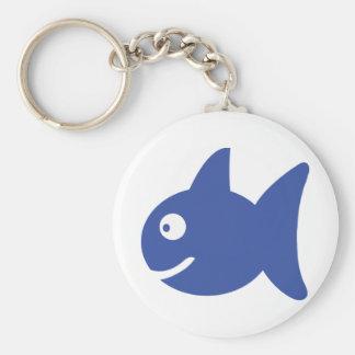 blue comic fish basic round button key ring