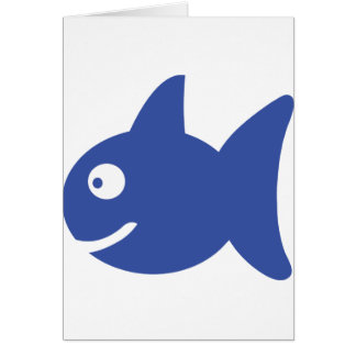 blue comic fish greeting card