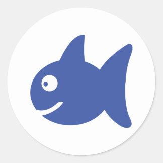 blue comic fish round sticker