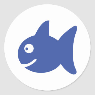 blue comic fish stickers