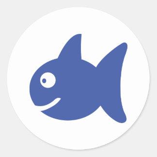 blue comic fish stickers