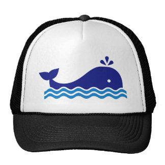 Blue comic whale mesh hats