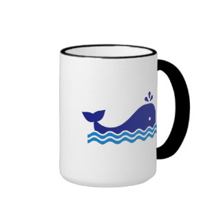 Blue comic whale coffee mugs