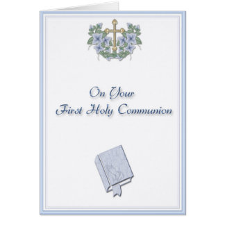 Blue Communion Congratulations Card