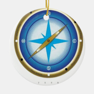 Blue compass christmas ornament