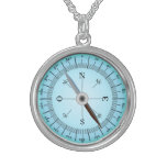 blue compass personalized necklace