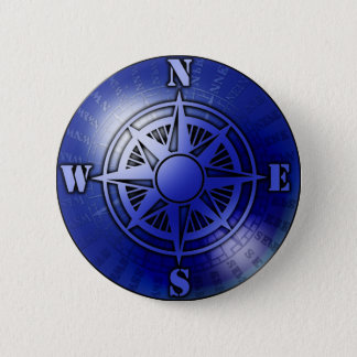 Blue compass rose 6 cm round badge
