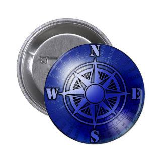 Blue compass rose 6 cm round badge
