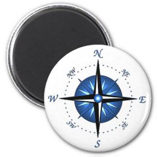 Blue Compass Rose 6 Cm Round Magnet