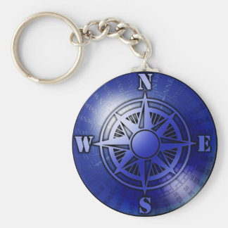 Blue compass rose basic round button key ring