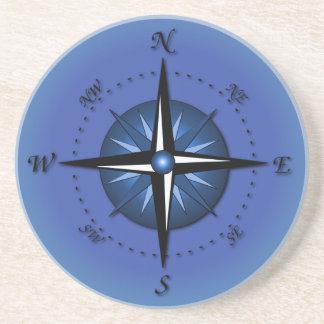 Blue Compass Rose Coaster