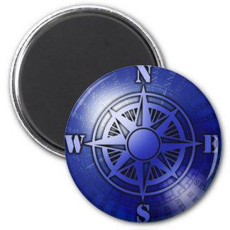 Blue compass rose fridge magnet