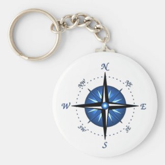 Blue Compass Rose Key Ring