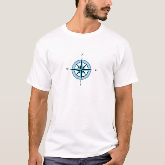 Blue Compass Rose Nautical Icon T-Shirt