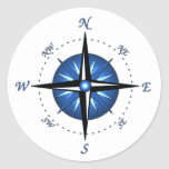 Blue Compass Rose Round Sticker