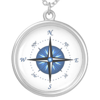 Blue Compass Rose Silver Plated Necklace