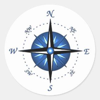 Blue Compass Rose Sticker