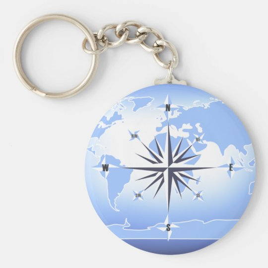 Blue Compass Rose World Map Key Chain