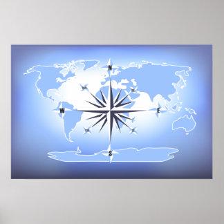 Blue Compass Rose World Map Poster