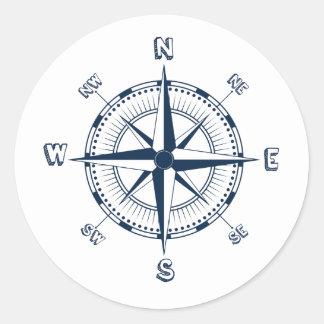 Blue Compass Round Sticker