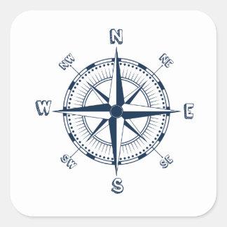 Blue Compass Square Sticker
