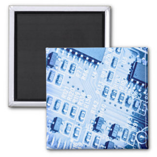 Blue computer motherboard pattern square magnet