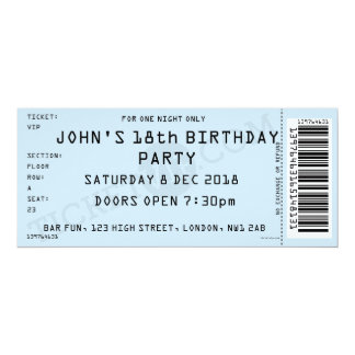 Blue Concert Ticket Party Invitation  Concert Ticket Birthday Invitations