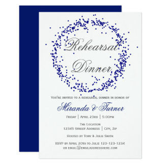 Blue Confetti - 3x5 Rehearsal Dinner Invitation